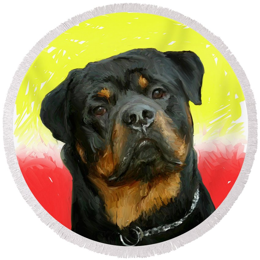 Dog Round Beach Towel featuring the painting Brutus by Snake Jagger