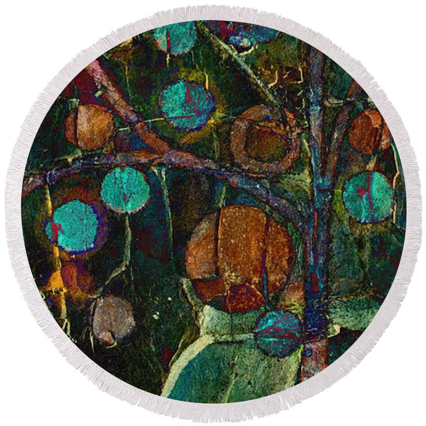 Tree Round Beach Towel featuring the painting Bubble Tree - Spc01ct04 - Left by Variance Collections