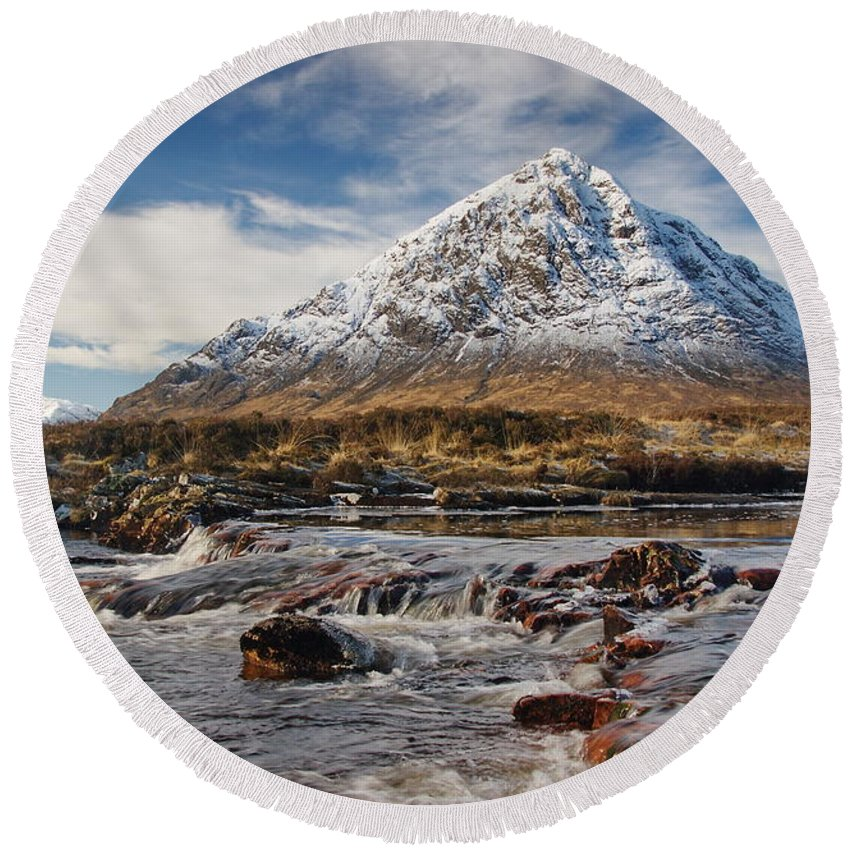 Scotland Round Beach Towel featuring the digital art Buchaille Etive Mhor - Glencoe by Pat Speirs