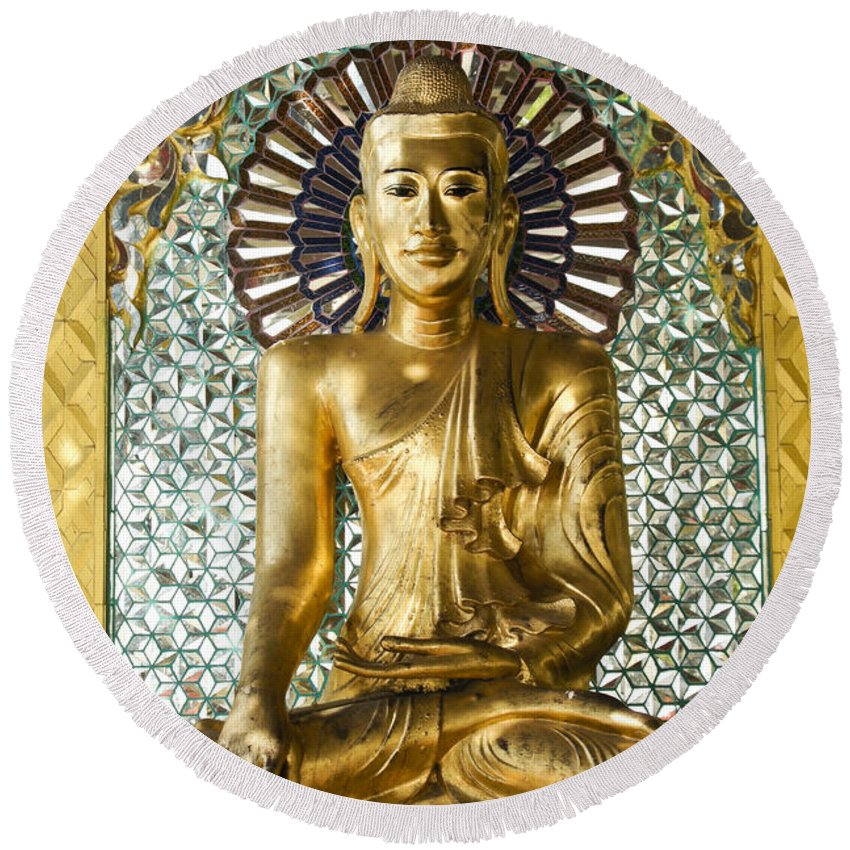 Buddha Round Beach Towel featuring the photograph Buddha In Glass by Michele Burgess