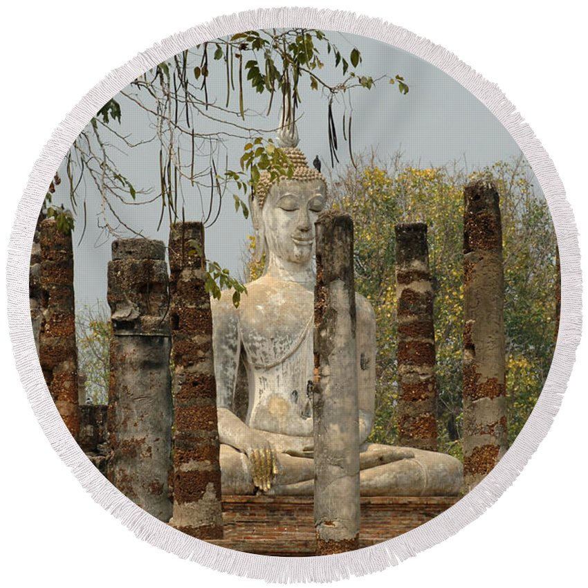 Sukhothai Round Beach Towel featuring the photograph Buddha In Thailand by Bob Christopher
