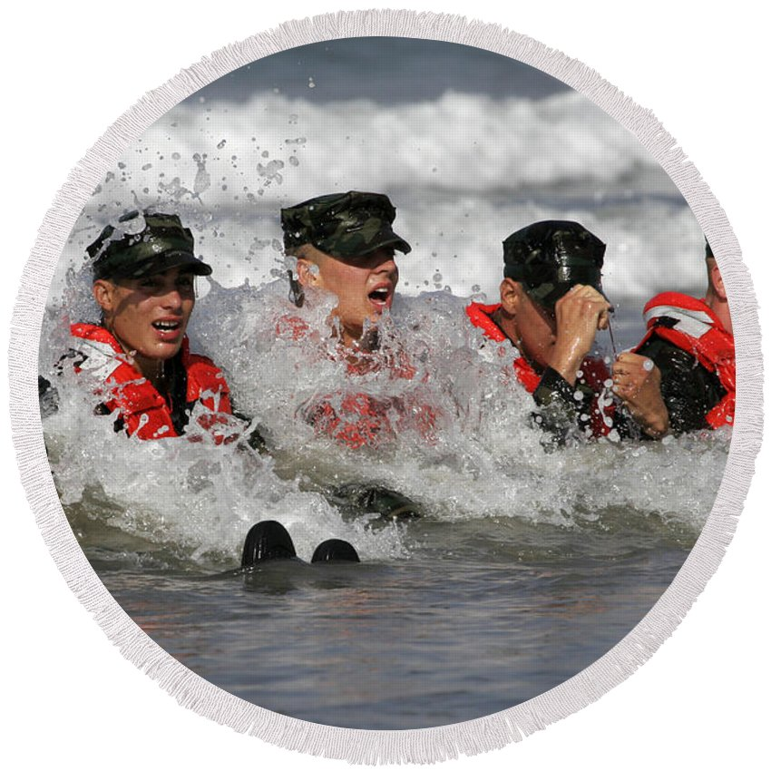 Special Forces Round Beach Towel featuring the photograph Buds Students Participate In A Surf by Stocktrek Images