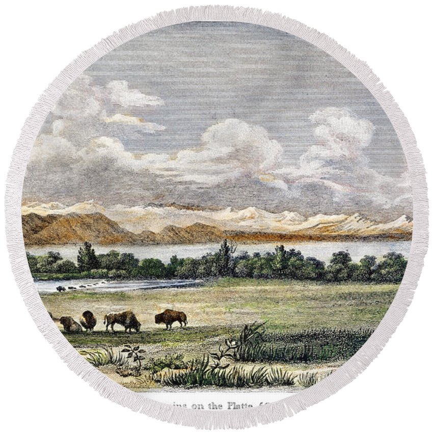 19th Century Round Beach Towel featuring the photograph Buffalo, 19th Century by Granger