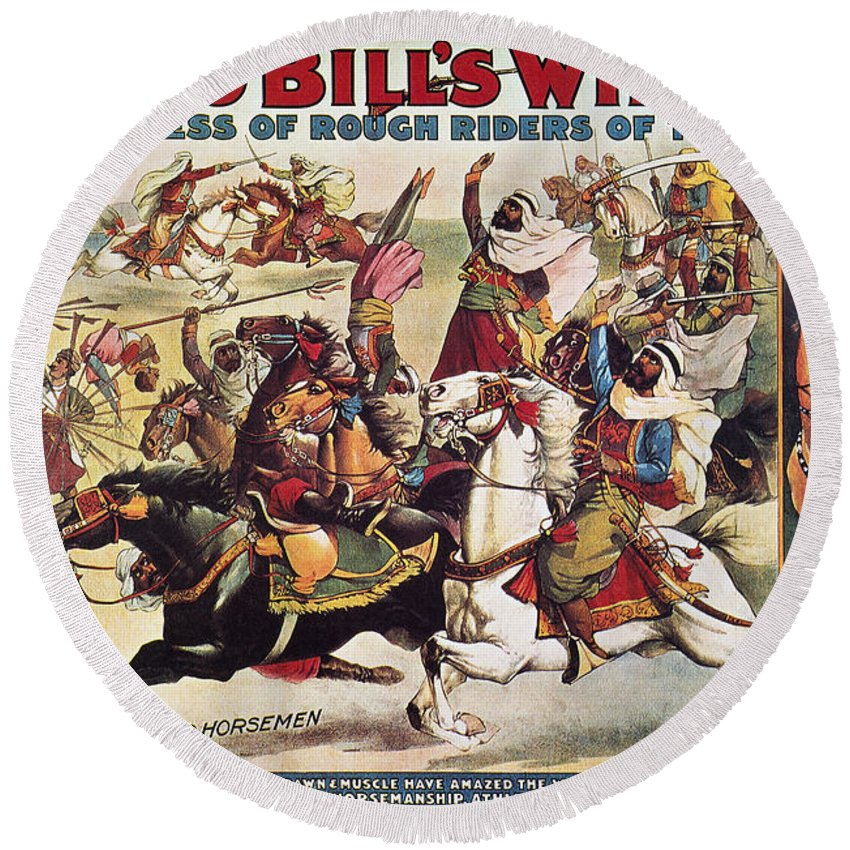 1899 Round Beach Towel featuring the photograph Buffalo Bill: Poster, 1899 by Granger
