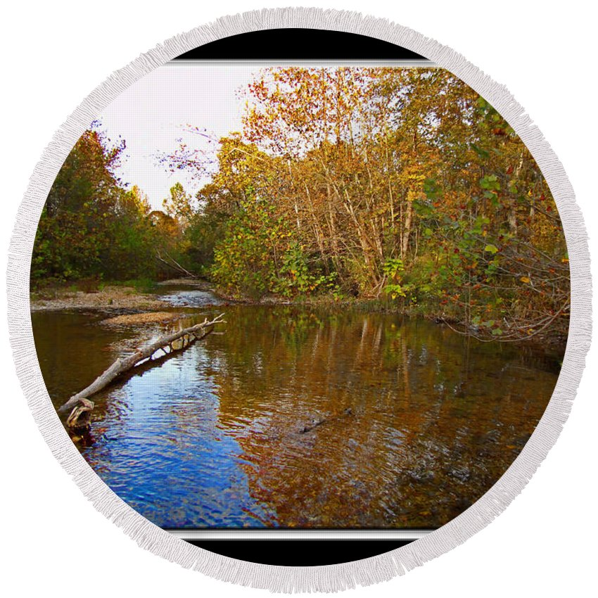 Water Round Beach Towel featuring the photograph Buffalo Creek by Debbie Portwood