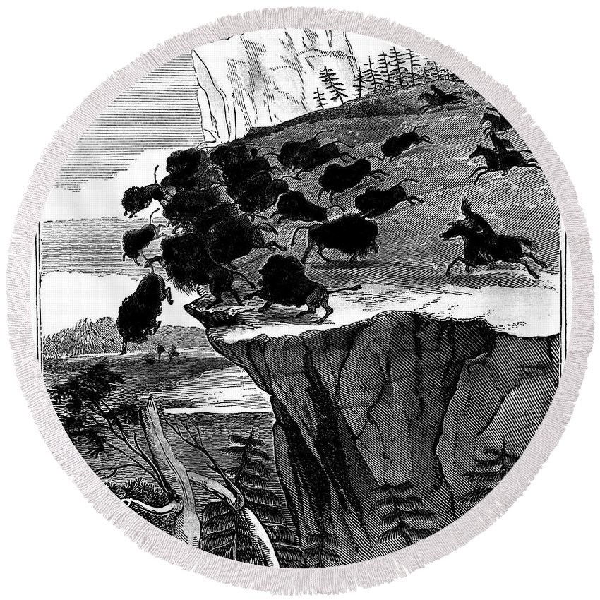 1834 Round Beach Towel featuring the photograph Buffalo Hunt, 1834 by Granger