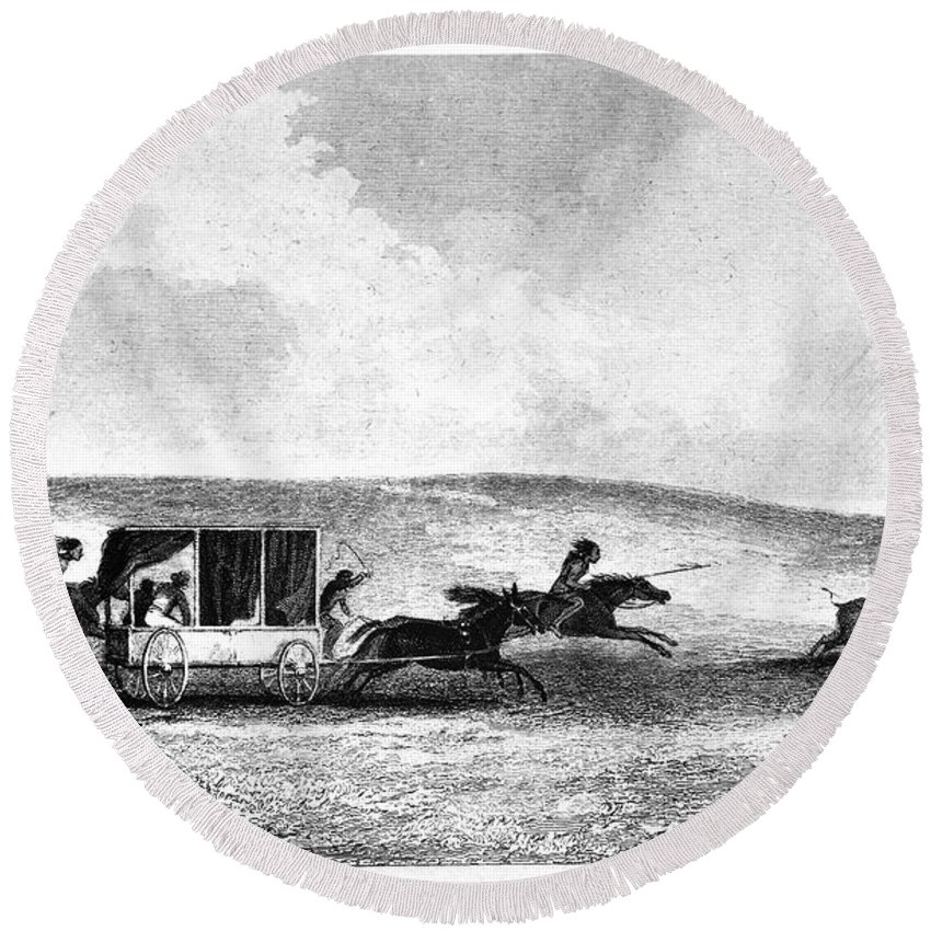 1841 Round Beach Towel featuring the photograph Buffalo Hunt, 1841 by Granger