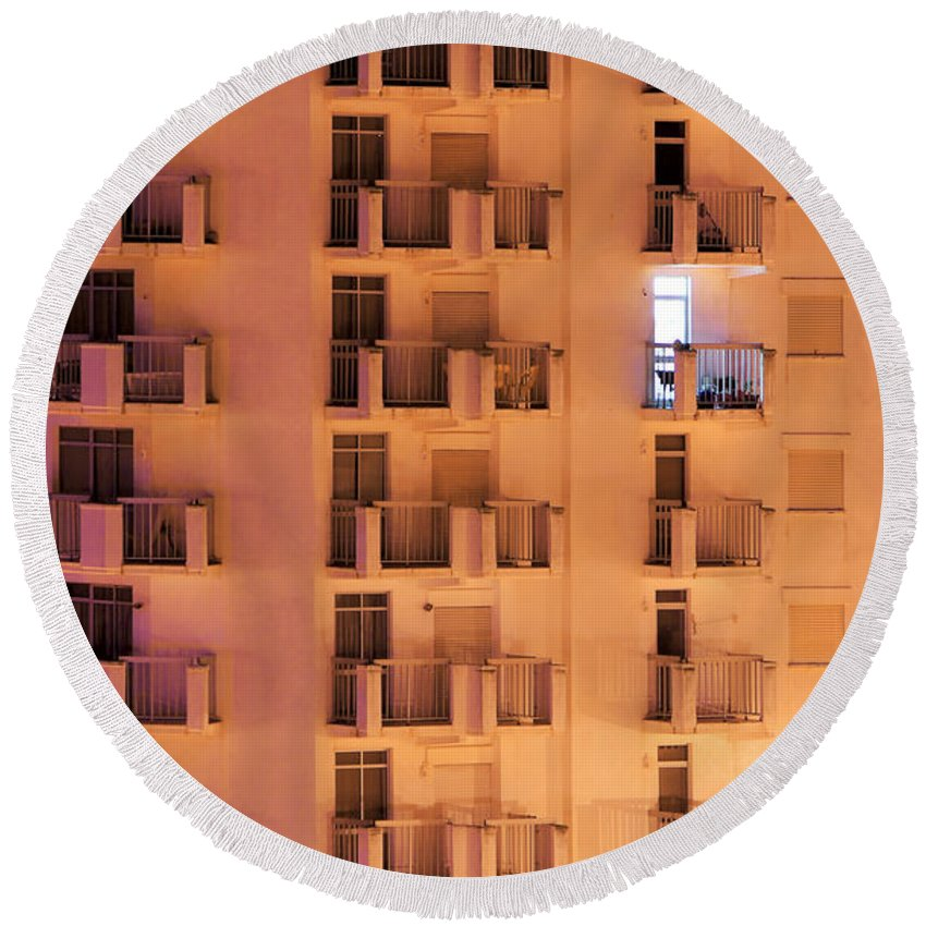 Apartment Round Beach Towel featuring the photograph Building Facade by Carlos Caetano