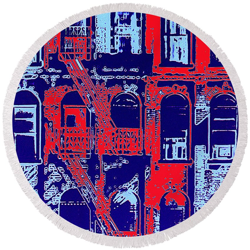 Building Facades Round Beach Towel featuring the photograph Building Facade In Blue And Red by Rich Walter