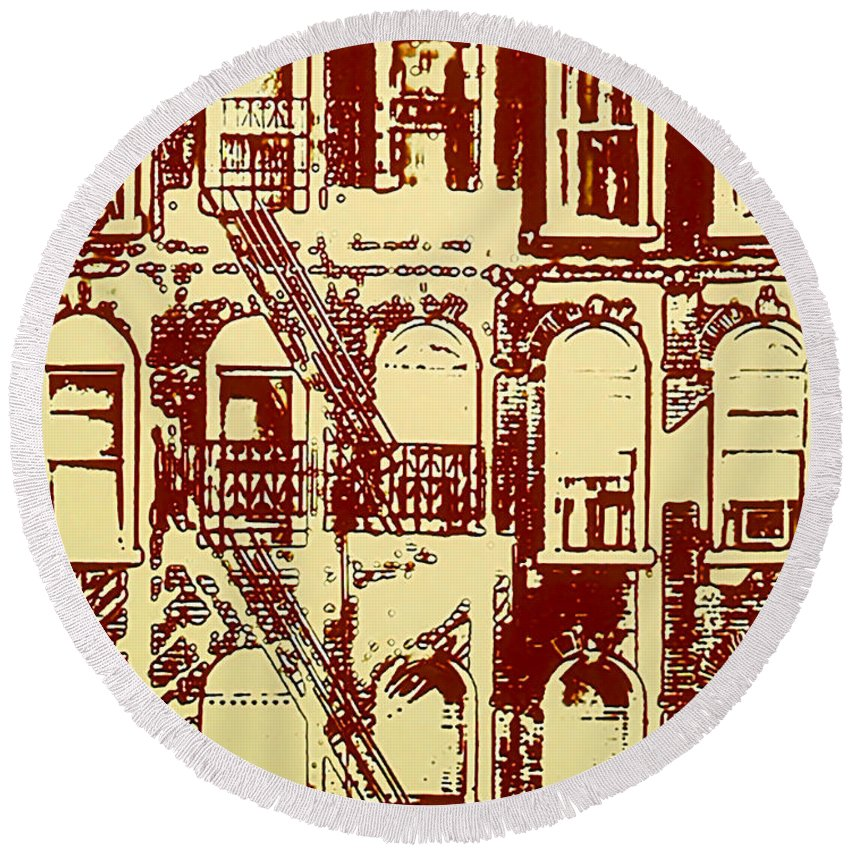 Building Facades Round Beach Towel featuring the photograph Building Facade Line Art by Rich Walter