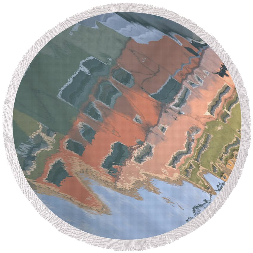 Burano House Round Beach Towel featuring the photograph Burano House Reflections by Rebecca Margraf