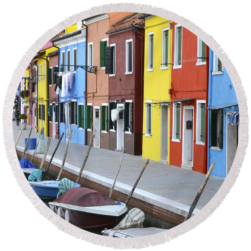 Burano Round Beach Towel featuring the photograph Burano Italy 2 by Rebecca Margraf