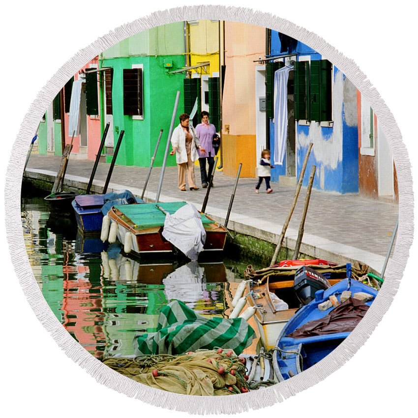 Reflections Round Beach Towel featuring the photograph Burano Reflections by Greg Matchick