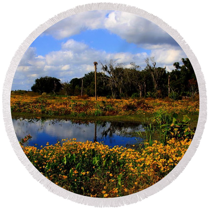 Burmarigold Round Beach Towel featuring the photograph Burmarigold Bliss by Barbara Bowen