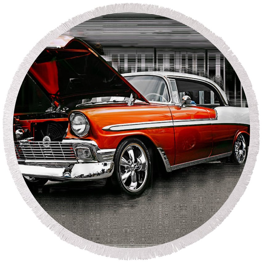 Old Cars Round Beach Towel featuring the photograph Burnt Orange Chevy Abstract by Randy Harris