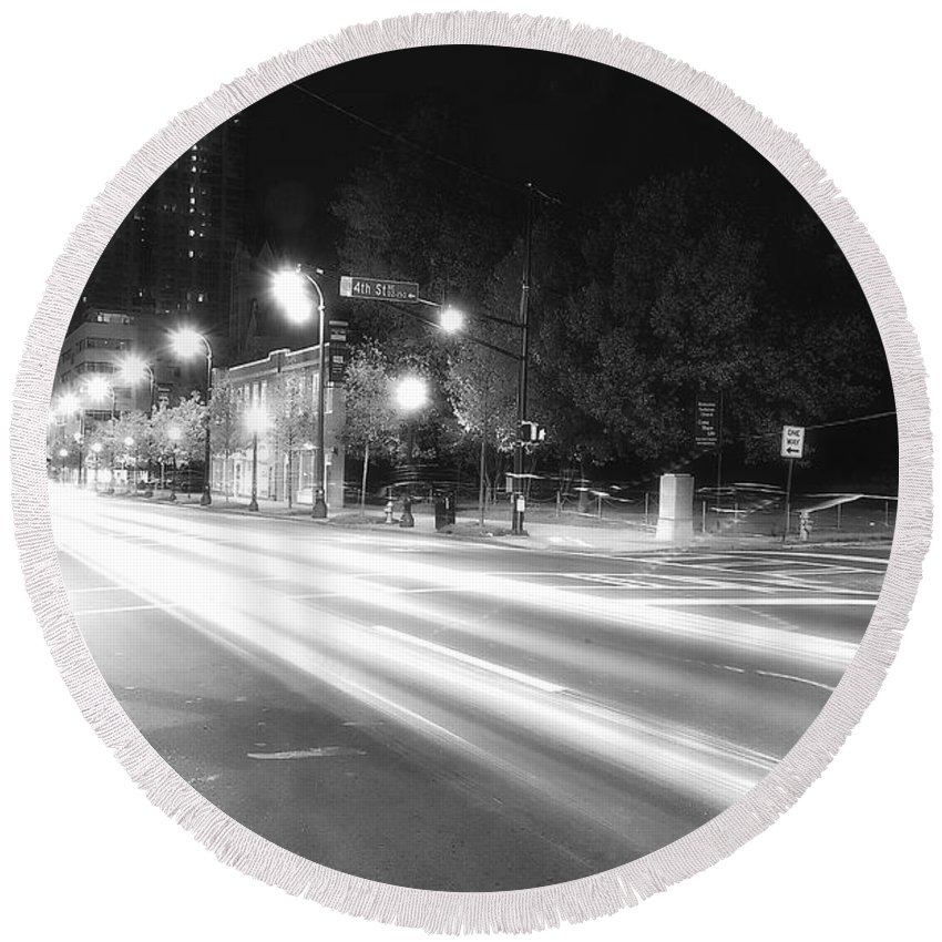 Black Round Beach Towel featuring the photograph Busy Night On Peachtree _ Atlanta by Kathleen K Parker