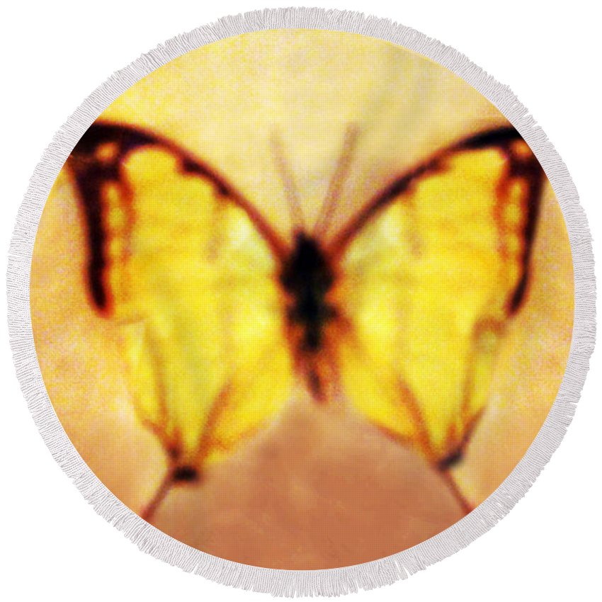 Butterfly Round Beach Towel featuring the photograph Butterfly by Margie Hurwich