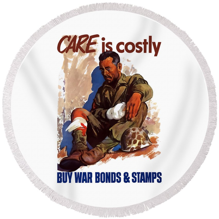 War Bonds Round Beach Towel featuring the painting Buy War Bonds And Stamps by War Is Hell Store