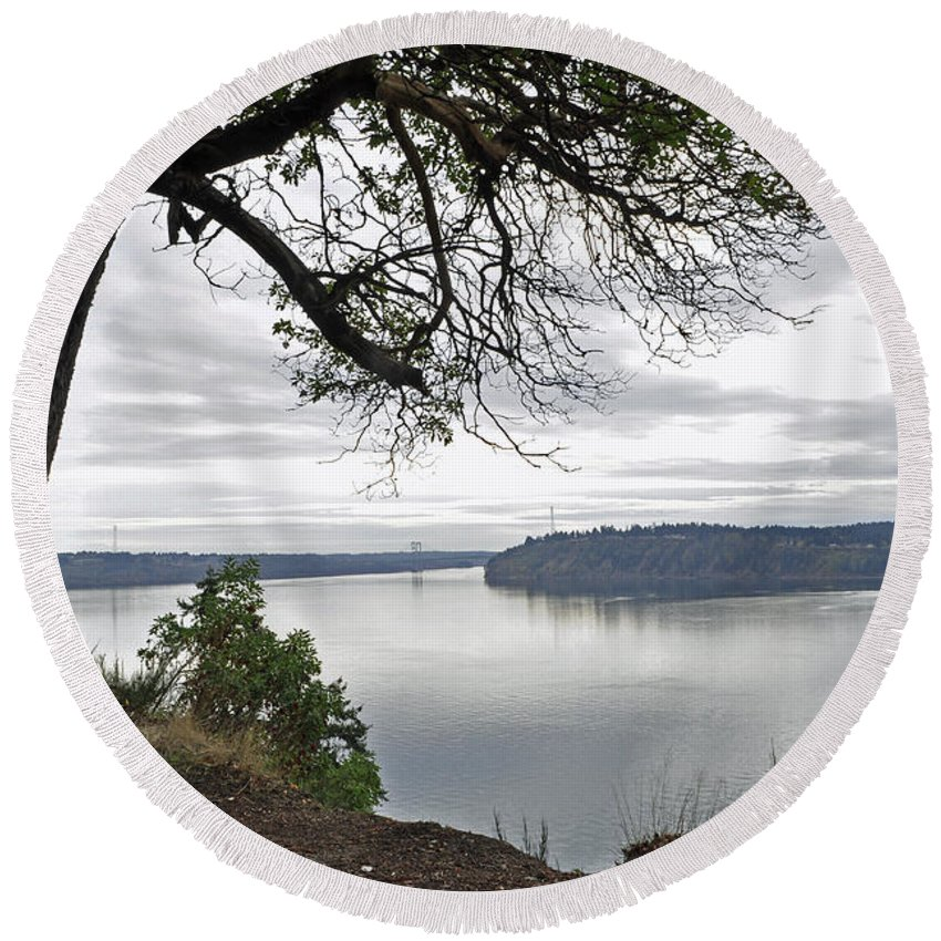 Landscape Round Beach Towel featuring the photograph By The Still Waters by Tikvah's Hope