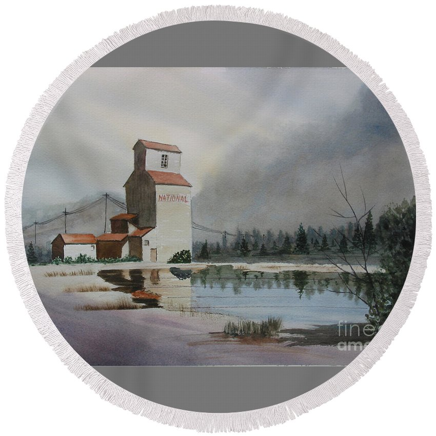 Grain Elevator Round Beach Towel featuring the painting Bygone Days by Mohamed Hirji