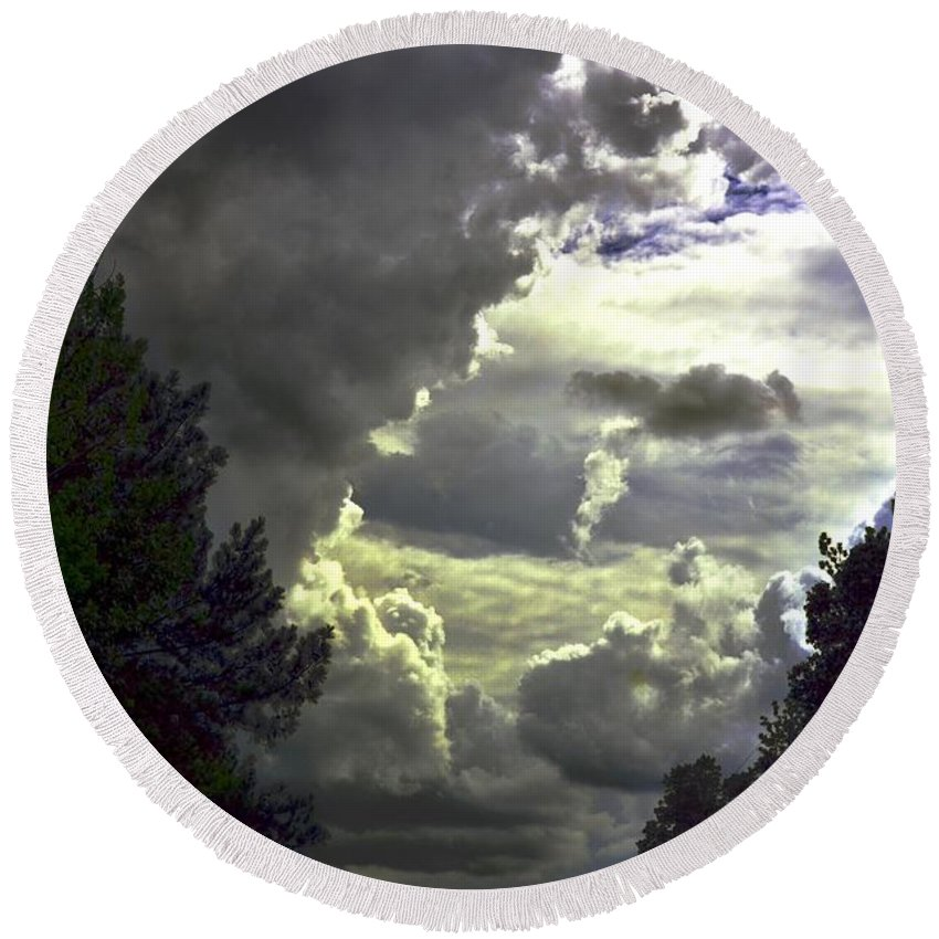 C Round Beach Towel featuring the photograph C Is For Clouds by Maria Urso