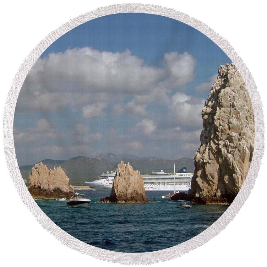 Mexico Round Beach Towel featuring the photograph Cabo San Lucas by Gary Wonning