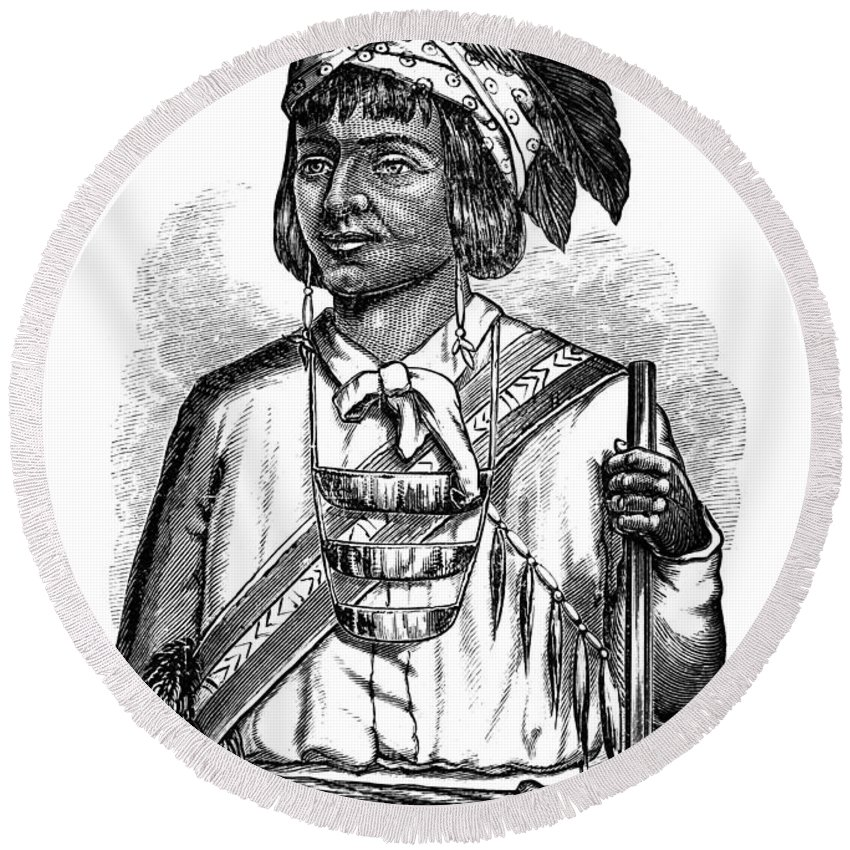 1879 Round Beach Towel featuring the photograph Caddo Chief, 1879 by Granger
