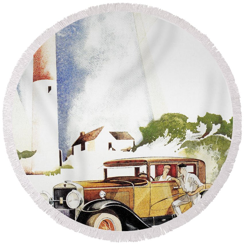 1929 Round Beach Towel featuring the photograph Cadillac Ad, 1929 by Granger