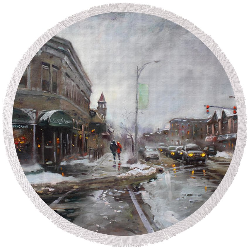 Caffe Aroma Round Beach Towel featuring the painting Caffe Aroma In Winter by Ylli Haruni
