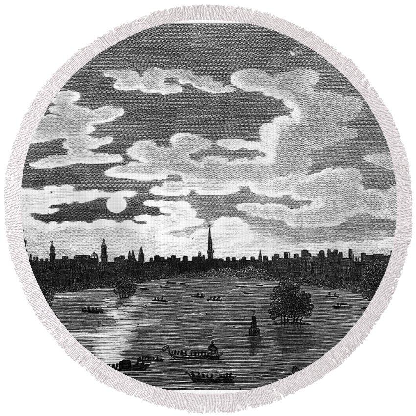 1803 Round Beach Towel featuring the photograph Cairo: Azbakiya Square by Granger