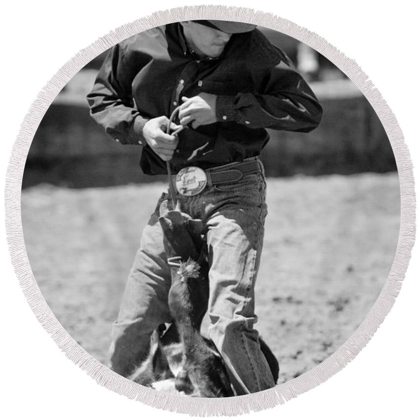 Rodeos Round Beach Towel featuring the photograph Calf Roper by Michelle Wrighton
