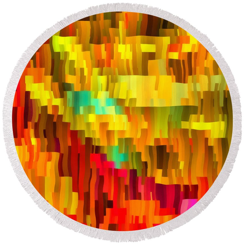 Abstract Round Beach Towel featuring the digital art Caliente by RochVanh