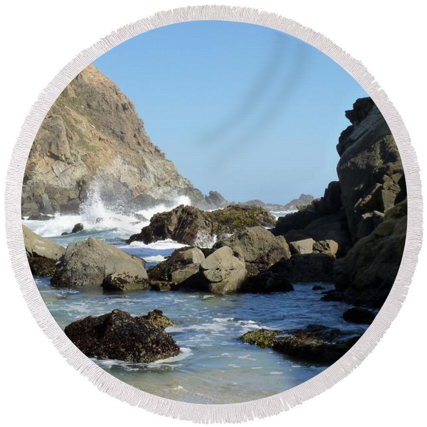 Water Round Beach Towel featuring the photograph California Coast by Carla Parris