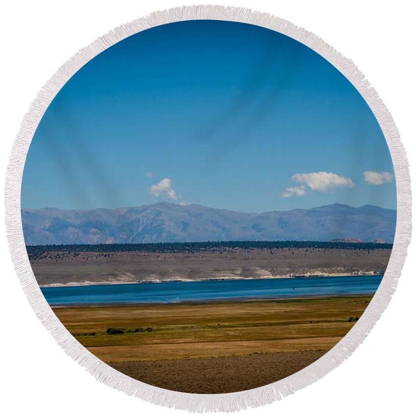 California Round Beach Towel featuring the photograph California Lake by Cathy Smith