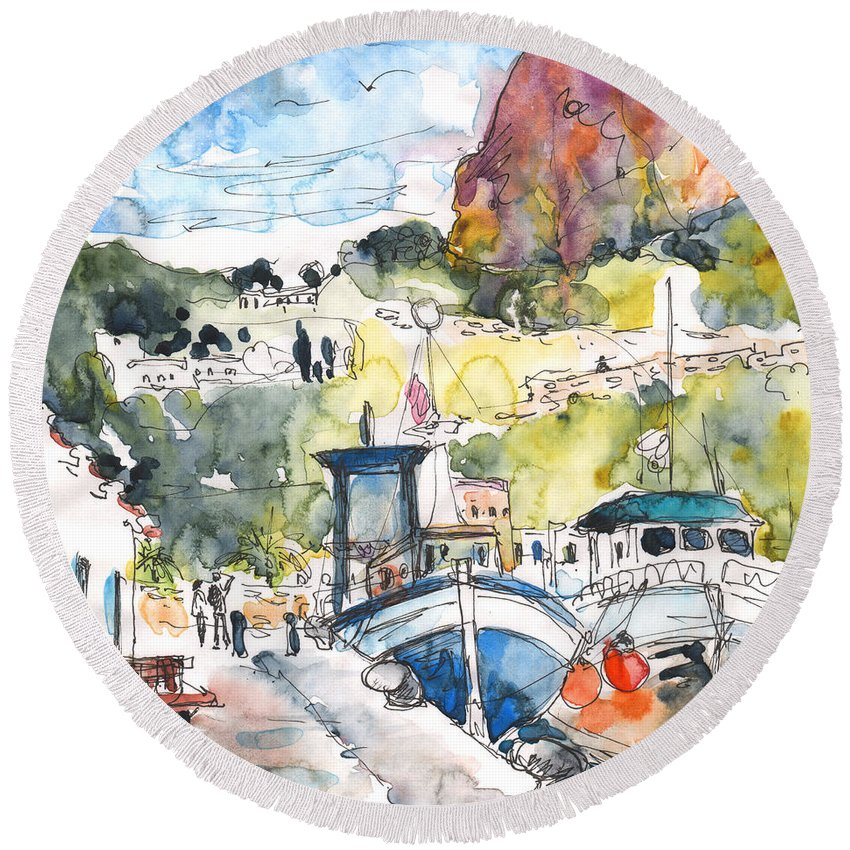 Travel Round Beach Towel featuring the painting Calpe Harbour 05 by Miki De Goodaboom