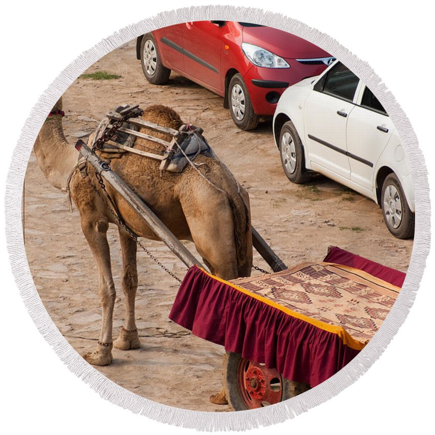 Maruti Round Beach Towel featuring the photograph Camel Ready To Take Tourists For A Desert Safari by Ashish Agarwal