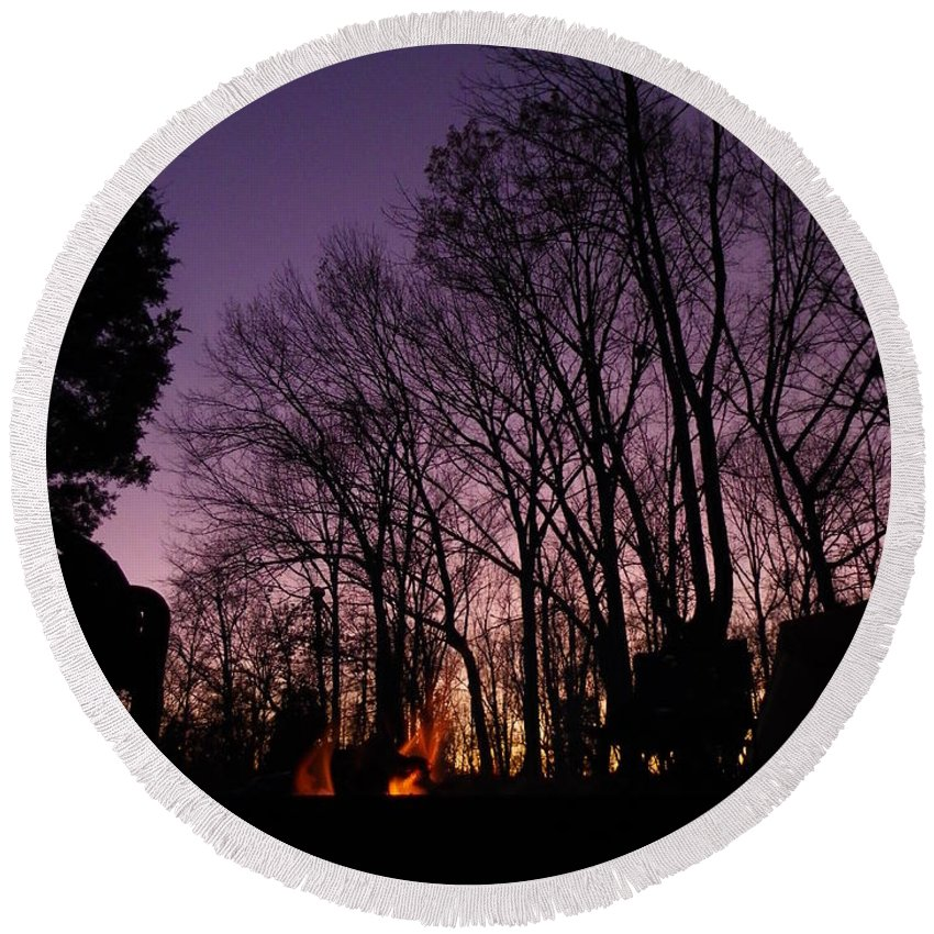 Purple Round Beach Towel featuring the photograph Camp Fire Sunset by Charleen Treasures