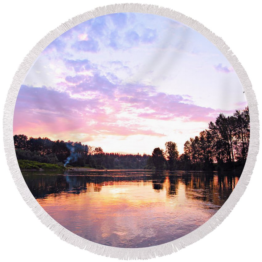 Landscape Round Beach Towel featuring the photograph Camp Fire Sunset by Paul Fell