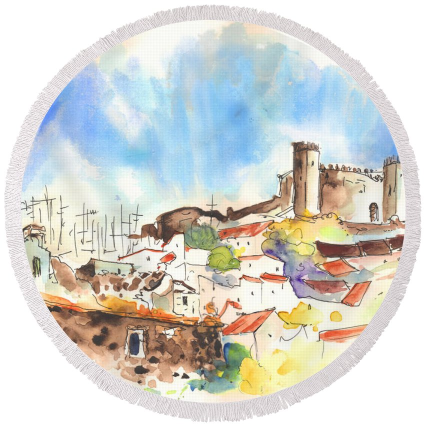 Portugal Round Beach Towel featuring the painting Campo Maior In Portugal 02 by Miki De Goodaboom