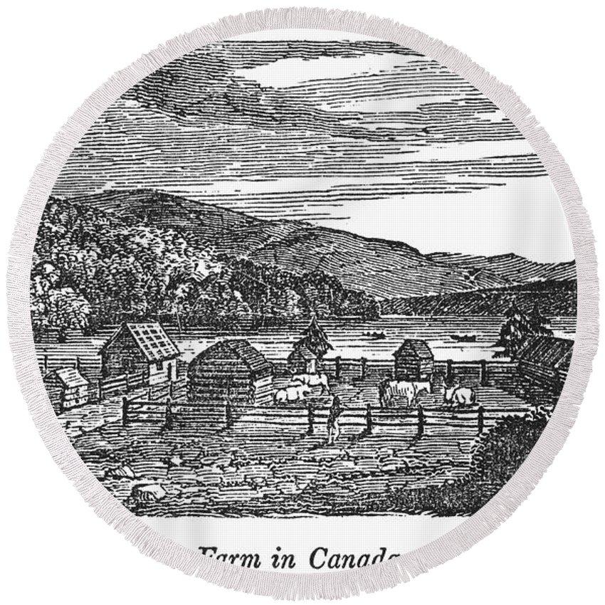 1820 Round Beach Towel featuring the photograph Canada: Farm, C1820 by Granger