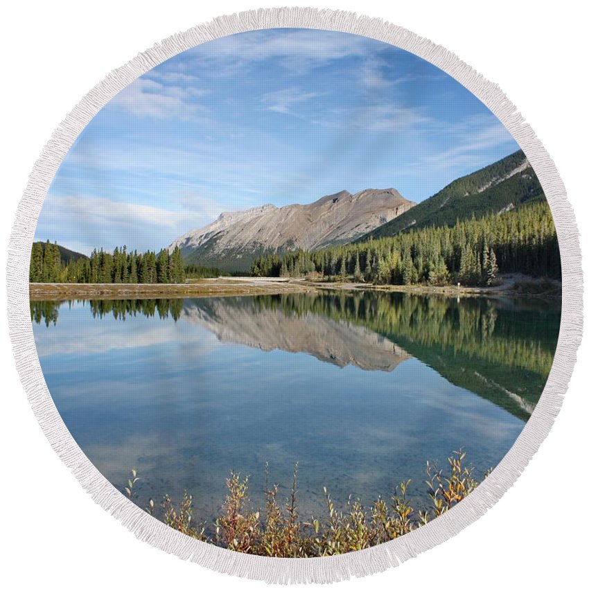 Mountains Round Beach Towel featuring the photograph Canadian Rockies Rocky Mountain Lake by Terry Fleckney