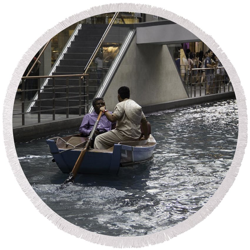Action Round Beach Towel featuring the photograph Canal Running Through The Length Of The Shoppes Running Under Th by Ashish Agarwal