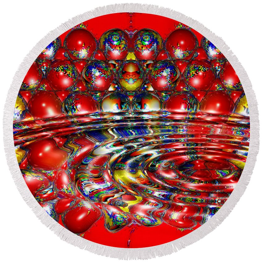 Multicolor Round Beach Towel featuring the digital art Candy Land by Robert Orinski