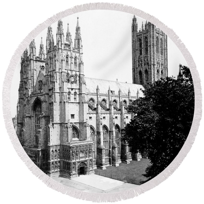 canterbury Cathedral Round Beach Towel featuring the photograph Canterbury Cathedral - England - C 1902 by International Images