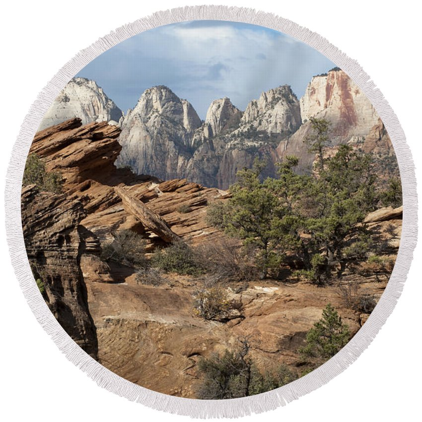 Sandra Bronstein Round Beach Towel featuring the photograph Canyon Trail Overlook by Sandra Bronstein