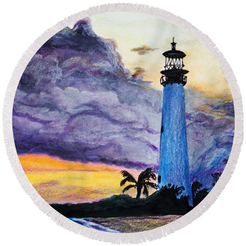 Cape Florida Round Beach Towel featuring the painting Cape Florida Lighthouse by Roger Wedegis
