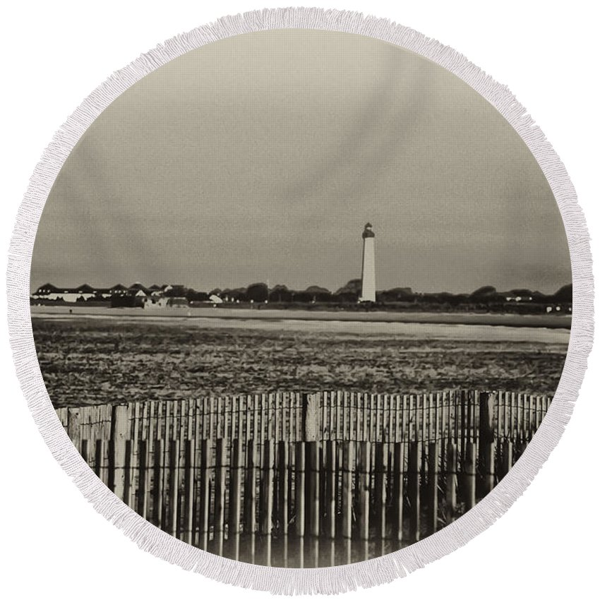 Cape May Round Beach Towel featuring the photograph Cape May Light House In Sepia by Bill Cannon