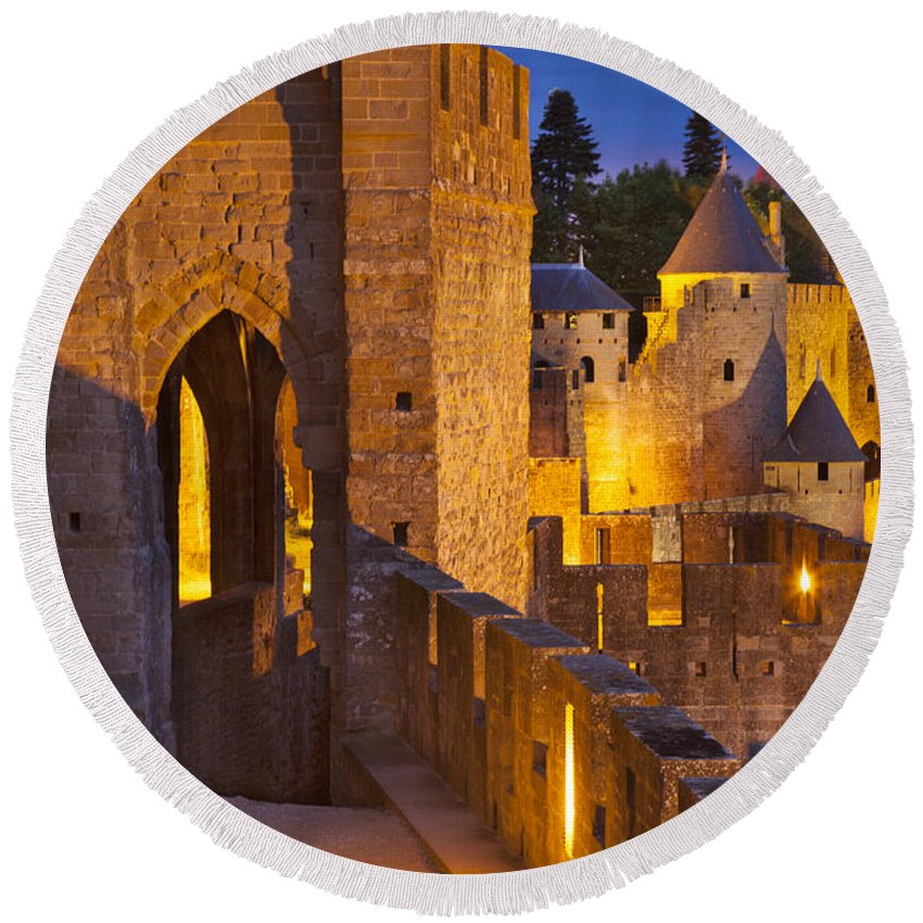 Architecture Round Beach Towel featuring the photograph Carcassonne Ramparts by Brian Jannsen