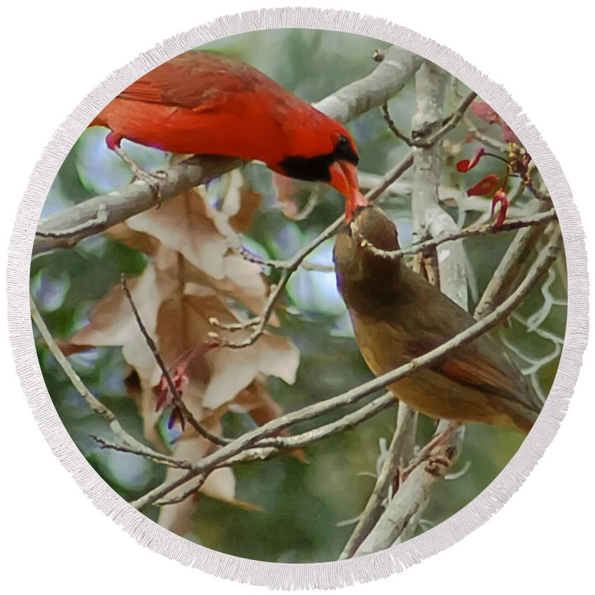 Cardinals Round Beach Towel featuring the photograph Cardinal Kisses by DigiArt Diaries by Vicky B Fuller