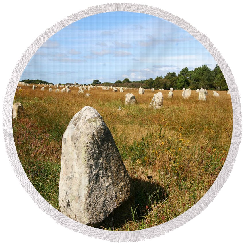 Carnac Round Beach Towel featuring the photograph Carnac Standing Stones by Diana Haronis